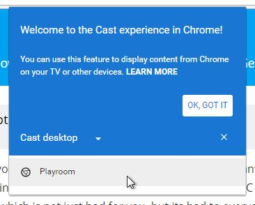 Select the Chromecast device you want to stream to