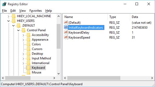Numlock Windows 10