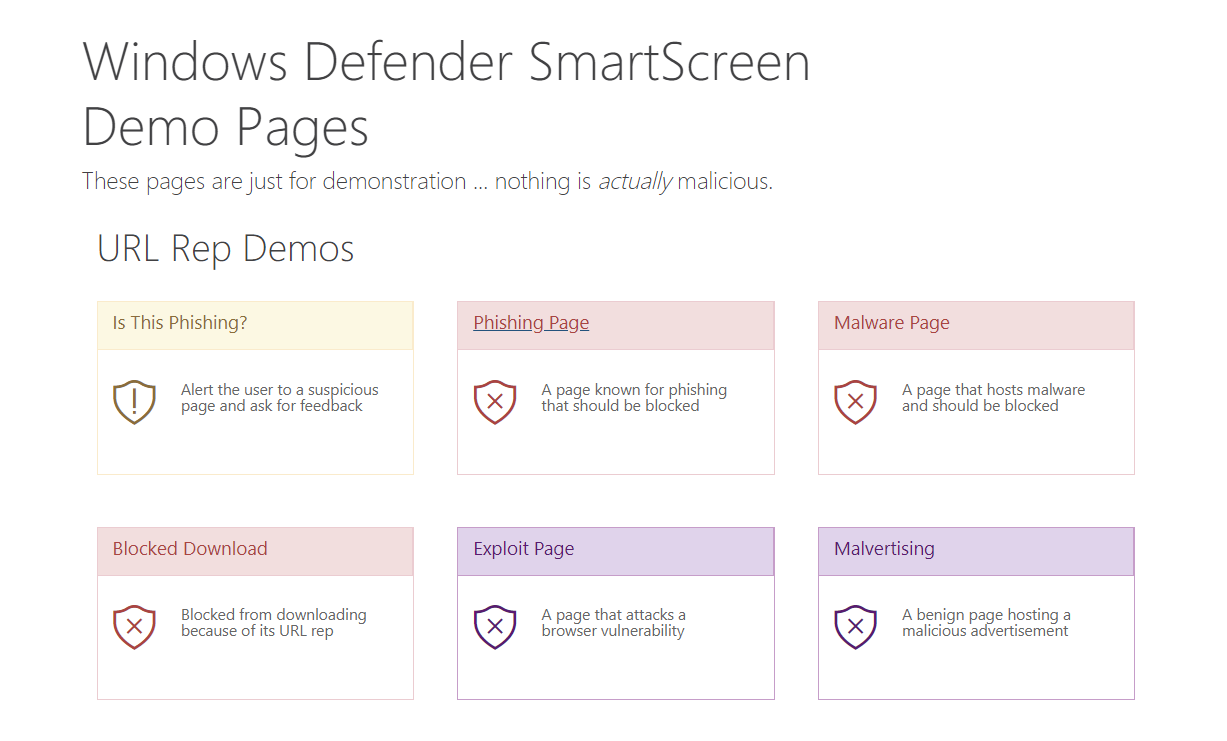 Windows Defender Browser Protection Test Page