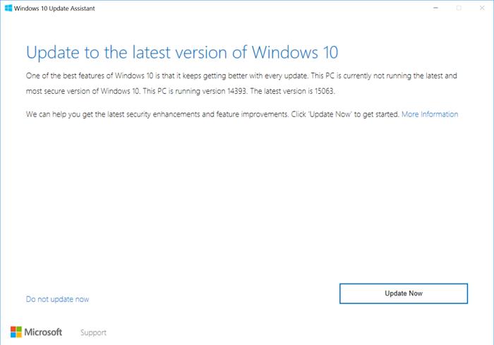 Manually update to Windows 10 Creators Update