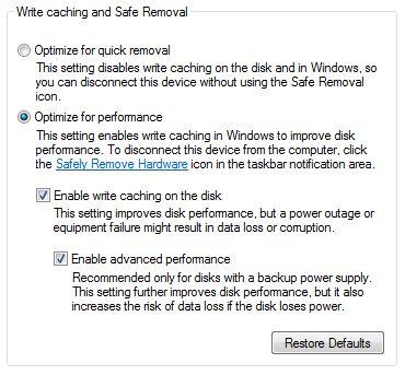 Speed up external hard drives