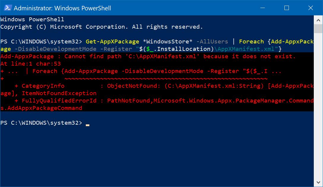 Fix Missing App Store on Windows 10 Build 17112+