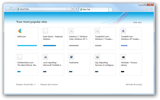 Configure Internet Explorer 9 To Start With Most Popular Sites