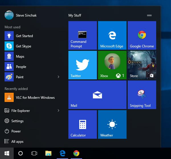 Resize the new Start Menu in Windows 10
