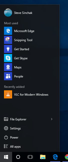 Resize the Start Menu in Windows 10 to obtain a Windows 95 Start Menu look and feel