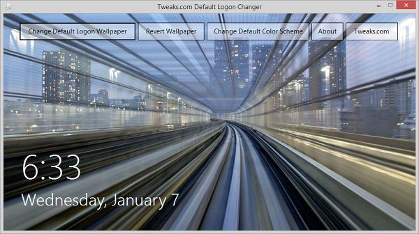 Tweaks.com Logon Changer for Windows 8