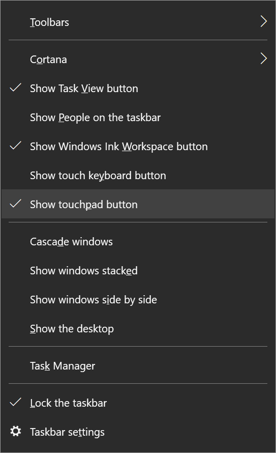 Virtual touchpad in Windows 10
