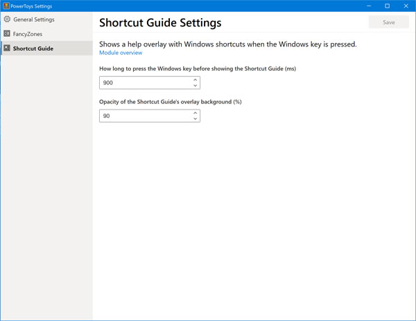 Shortcut Guide Settings