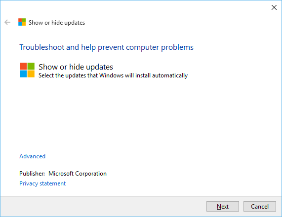 Windows Update Show Hide drivers in Windows 10
