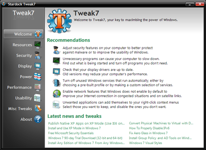On Day Windows 7 Launched I Installed >> Tweak7 Tweaking Utility For Microsoft Windows 7